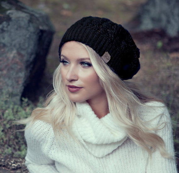 Black Dreams Pom Pom Hat Baby Alpaca Crochet Knit Hat Canada Bliss Hot Accessories Celebrity Fashion Style Beanie Fall Winter Fashion