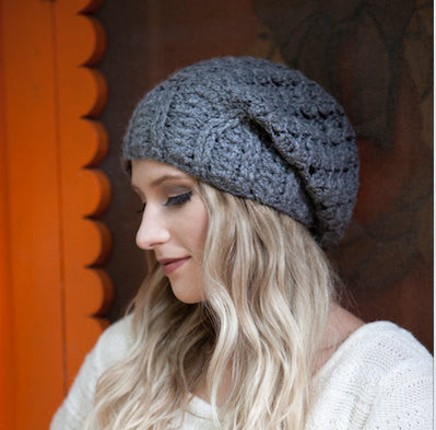 Grey Cherish Pom Pom Hat Baby Alpaca Crochet Knit Hat Canada Bliss Hot Accessories Celebrity Fashion Style Beanie Fall Winter Fashion