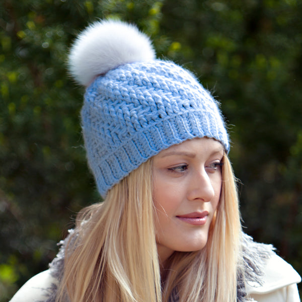 *NEW* Tranquility Pom Pom Hat | Light Blue Baby Alpaca | Fur Pom Pom