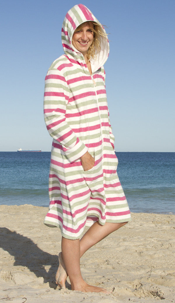 Dusky Pink ladies towelling breach robe cover-up