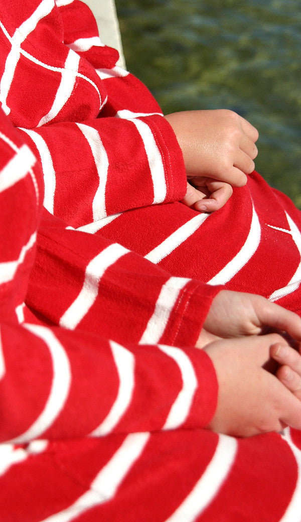 Ladies Candy Stripe towelling beach robe