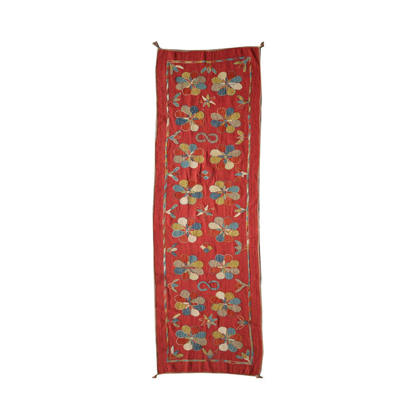 Red - Embroidered Kilim Runner