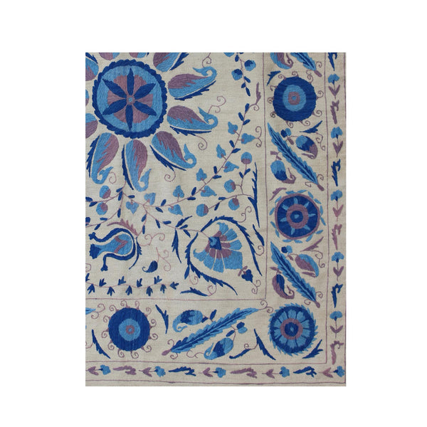 Blue Flowers - Embroidered Kilim Rug