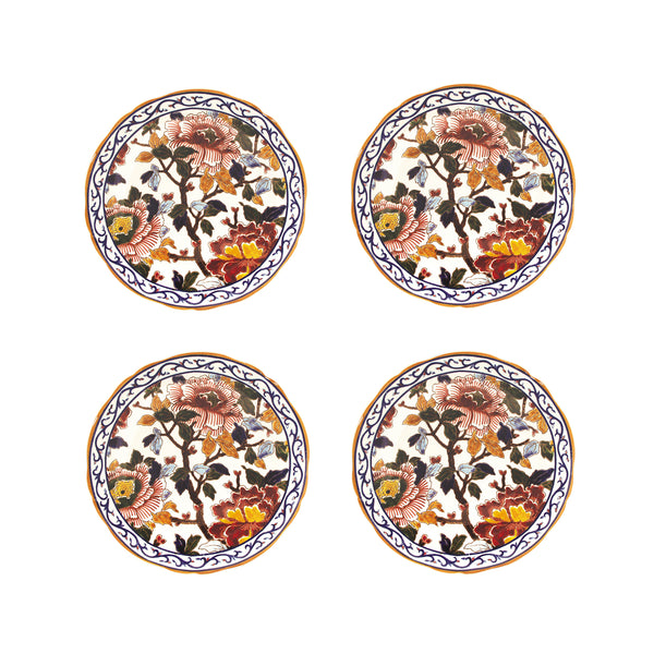 Peonies - Set of 4 hand painted dessert plates