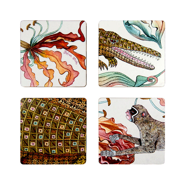 Coasters - Flame Lily Crocodile - Set of 4