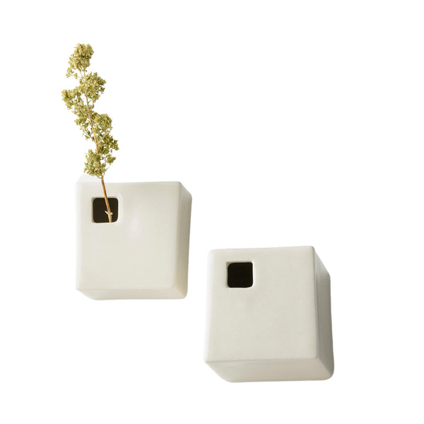 Set of 2 Flower Vases with Front Hole