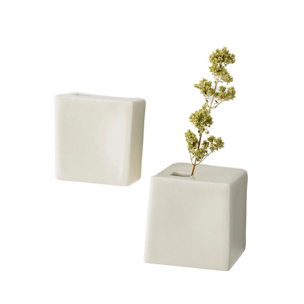 Set of 2 Flower Vases with Lateral Hole