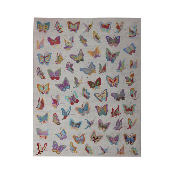 Multicolored Butterflies - Embroidered Kilim Rug