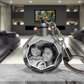 2D Laser Engraved Crystal Octagon Keychain with LED Light from your Photograph - 2 People