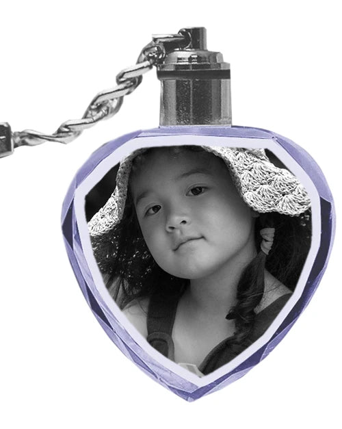 2D Laser Engraved Crystal Heart Keychain with LED Light from your Photograph - 2 People