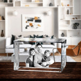 3D Laser Engraved Crystal Large Brick, Laser Engraved with Your Photo, Personalized Photo Gift, 3D Laser Engraved Etched Crystal - 3 People
