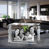 3D Laser Engraved Crystal Large Brick, Laser Engraved with Your Photo, Personalized Photo Gift, 3D Laser Engraved Etched Crystal - 4 People