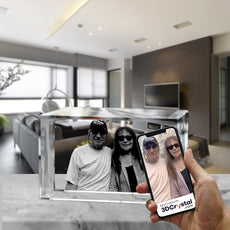 3D Crystal Laser Engraved Medium Brick, Laser Engraved with Your Photo, Personalized Photo Gift, 3D Laser Engraved Etched Crystal - 2 People