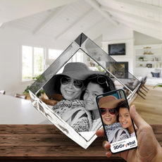 3D Crystal Laser Engraved Large Diamond, Laser Engraved with Your Photo, Personalized Photo Gift, 3D Laser Engraved Etched Crystal - 2 People