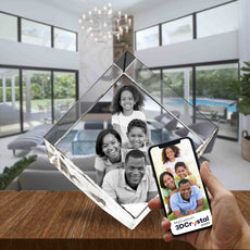 3D Crystal Laser Engraved Large Diamond, Laser Engraved with Your Photo, Personalized Photo Gift, 3D Laser Engraved Etched Crystal - 4 People