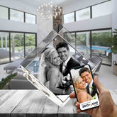 3D Crystal Laser Engraved Medium Diamond, Laser Engraved with Your Photo, Personalized Photo Gift, 3D Laser Engraved Etched Crystal - 2 People