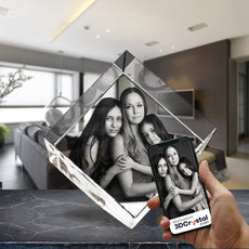 3D Crystal Laser Engraved Medium Diamond, Laser Engraved with Your Photo, Personalized Photo Gift, 3D Laser Engraved Etched Crystal - 3 People