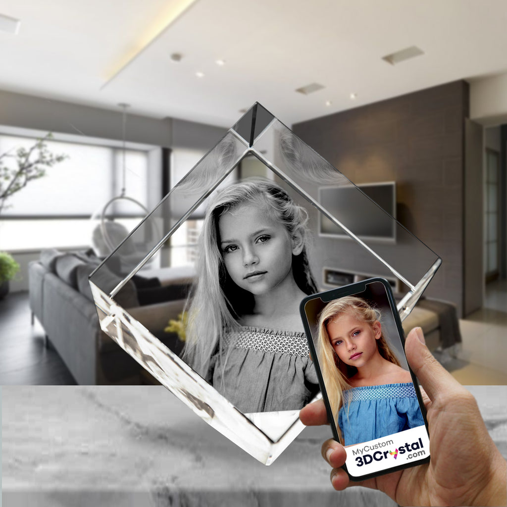 3D Crystal Laser Engraved Small Diamond, Laser Engraved with Your Photo, Personalized Photo Gift, 3D Laser Engraved Etched Crystal - 1 Person