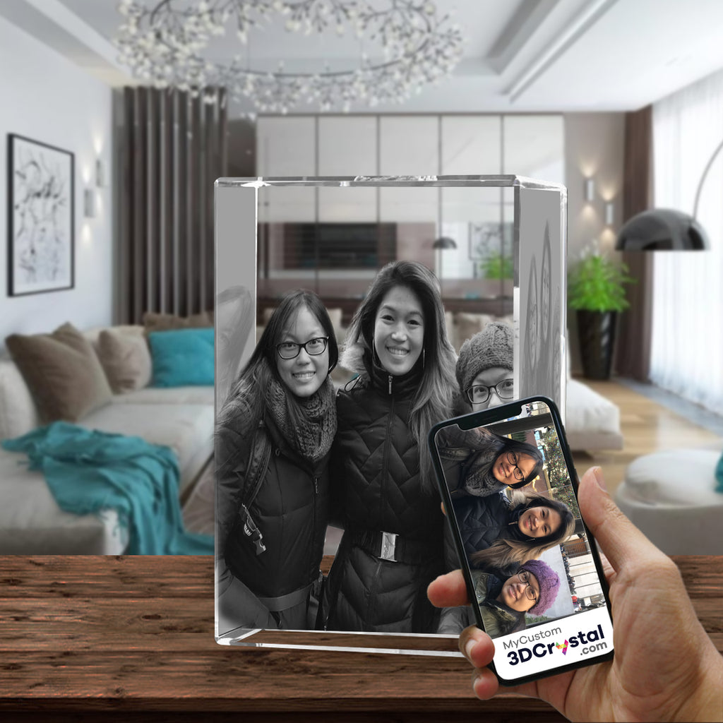 3D Crystal Laser Engraved Large Tower, Laser Engraved with Your Photo, Personalized Photo Gift, 3D Laser Engraved Etched Crystal - 3 People