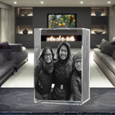 3D Laser Engraved Crystal Large Tower, Laser Engraved with Your Photo, Personalized Photo Gift, 3D Laser Engraved Etched Crystal - 3 People