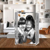 3D Laser Engraved Crystal Medium Tower, Laser Engraved with Your Photo, Personalized Photo Gift, 3D Laser Engraved Etched Crystal - 2 People