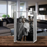 3D Laser Engraved Crystal Medium Tower, Laser Engraved with Your Photo, Personalized Photo Gift, 3D Laser Engraved Etched Crystal - 3 People