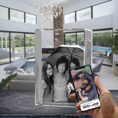 3D Crystal Laser Engraved XLarge Tower, Laser Engraved with Your Photo, Personalized Photo Gift, 3D Laser Engraved Etched Crystal - 3 People