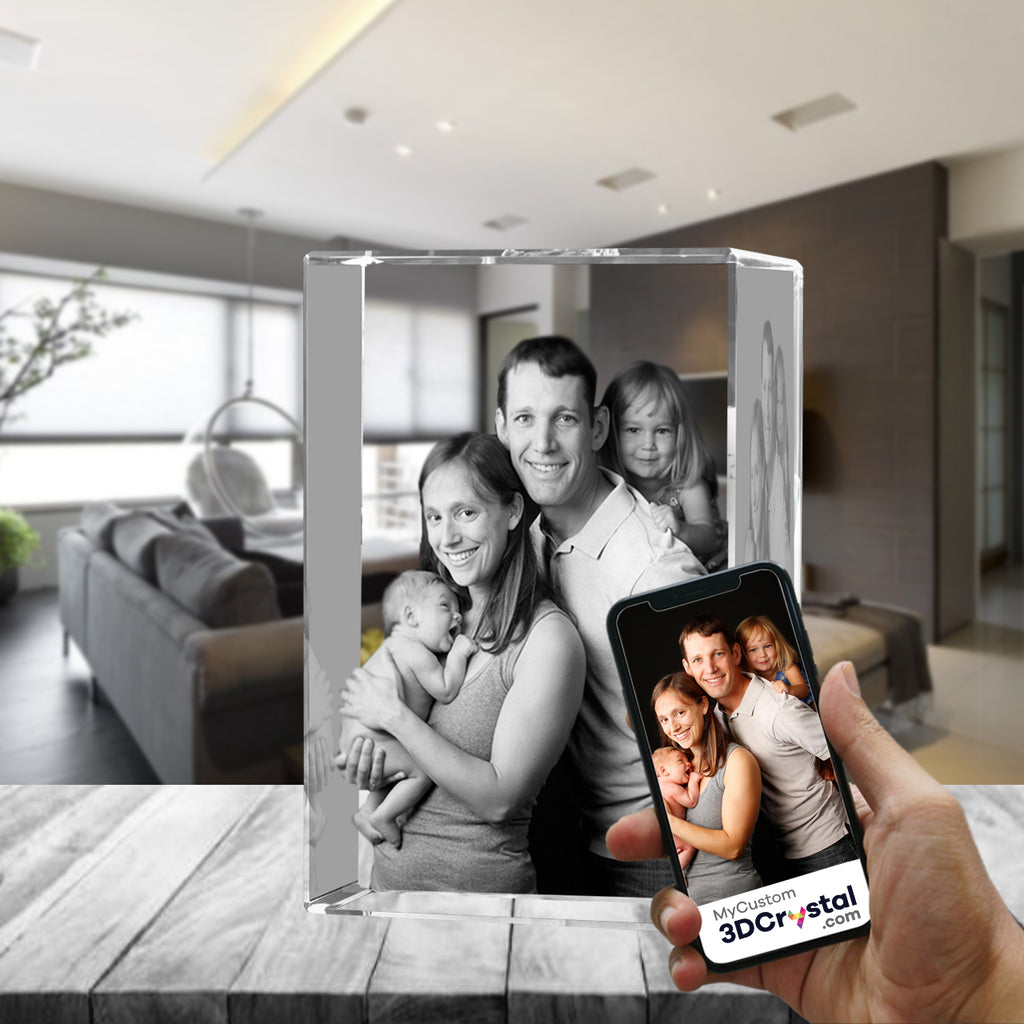 3D Crystal Laser Engraved XLarge Tower, Laser Engraved with Your Photo, Personalized Photo Gift, 3D Laser Engraved Etched Crystal - 4 People