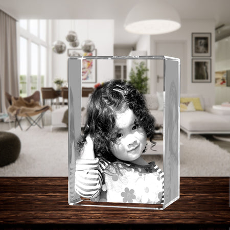 3D Laser Engraved Crystal XXLarge Tower, Laser Engraved with Your Photo, Personalized Photo Gift, 3D Laser Engraved Etched Crystal - 1 Person