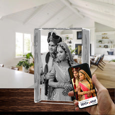 3D Crystal Laser Engraved XXLarge Tower, Laser Engraved with Your Photo, Personalized Photo Gift, 3D Laser Engraved Etched Crystal - 3D Crystal Wedding Collection 4