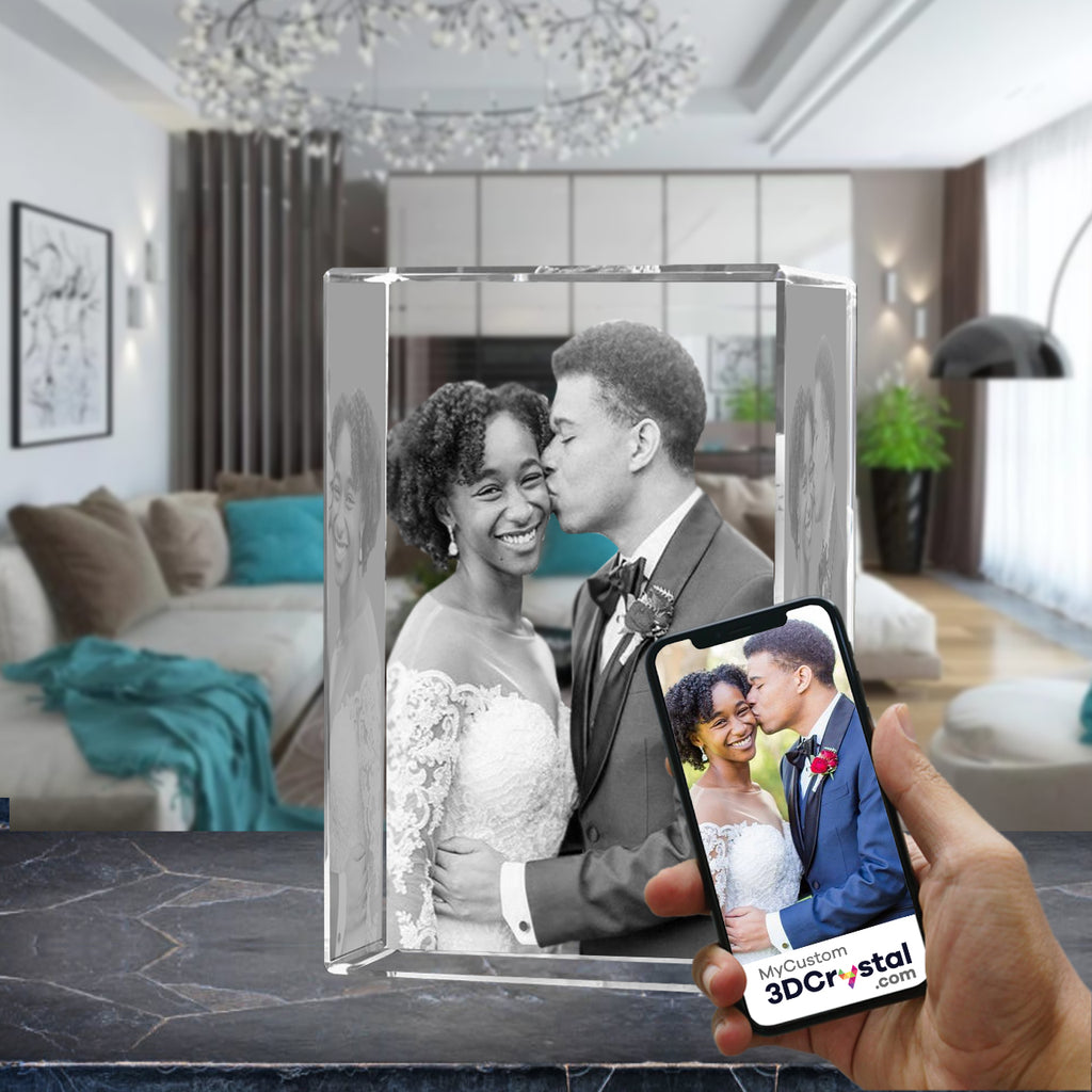 3D Crystal Laser Engraved XXLarge Tower, Laser Engraved with Your Photo, Personalized Photo Gift, 3D Laser Engraved Etched Crystal - 3D Crystal Wedding Collection 5