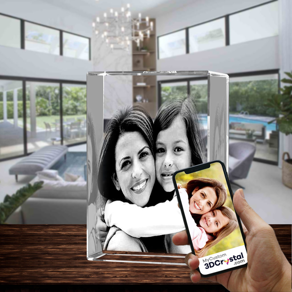 3D Crystal Laser Engraved XXLarge Tower, Laser Engraved with Your Photo, Personalized Photo Gift, 3D Laser Engraved Etched Crystal - 2 People