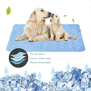 Pet Pad Summer Cooling Mat Dog Beds Mats Blue Pet Ice Pad Cool  Cold Silk Moisture-Proof  Cooler Mattress Cushion Puppy