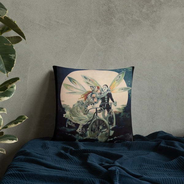 Vintage Fairy Couple on Bicycle Throw Pillow