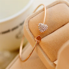 Load image into Gallery viewer, Modyle 2018 Hot New Fashion Adjustable Crystal Double Heart Bow Bilezik Cuff Opening Bracelet Women Jewelry Gift Mujer Pulseras