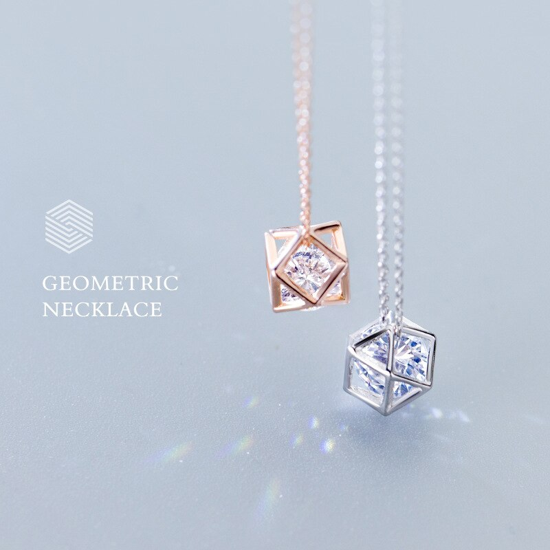 Modian New Sale Geometric Clear 5A CZ Sparkling Charm Necklaces Pendant For Women Real 925 Sterling Silver Irregular Jewelry