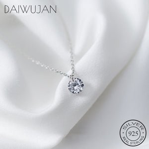 DAIWUJAN Real 925 Sterling Silver Round Crystal Pendant Choker Necklace For Women Romantic Fine Jewelry Wedding Accessories Gift