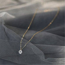 Load image into Gallery viewer, DAIWUJAN Real 925 Sterling Silver Round Crystal Pendant Choker Necklace For Women Romantic Fine Jewelry Wedding Accessories Gift