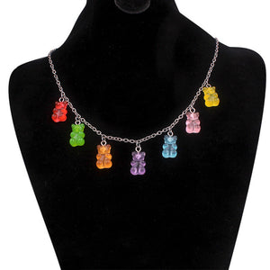 Fashion Multicolor Transparent Bear Necklace Cute Candy Color Resin Gummy Bear Pendant Necklace Women Jewelry