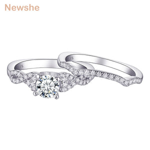 Newshe 2 Piece 925 Sterling Silver Wedding Rings For Women Twist Engagement Ring Bridal Set Round AAA Zircon Jewelry 1R0027