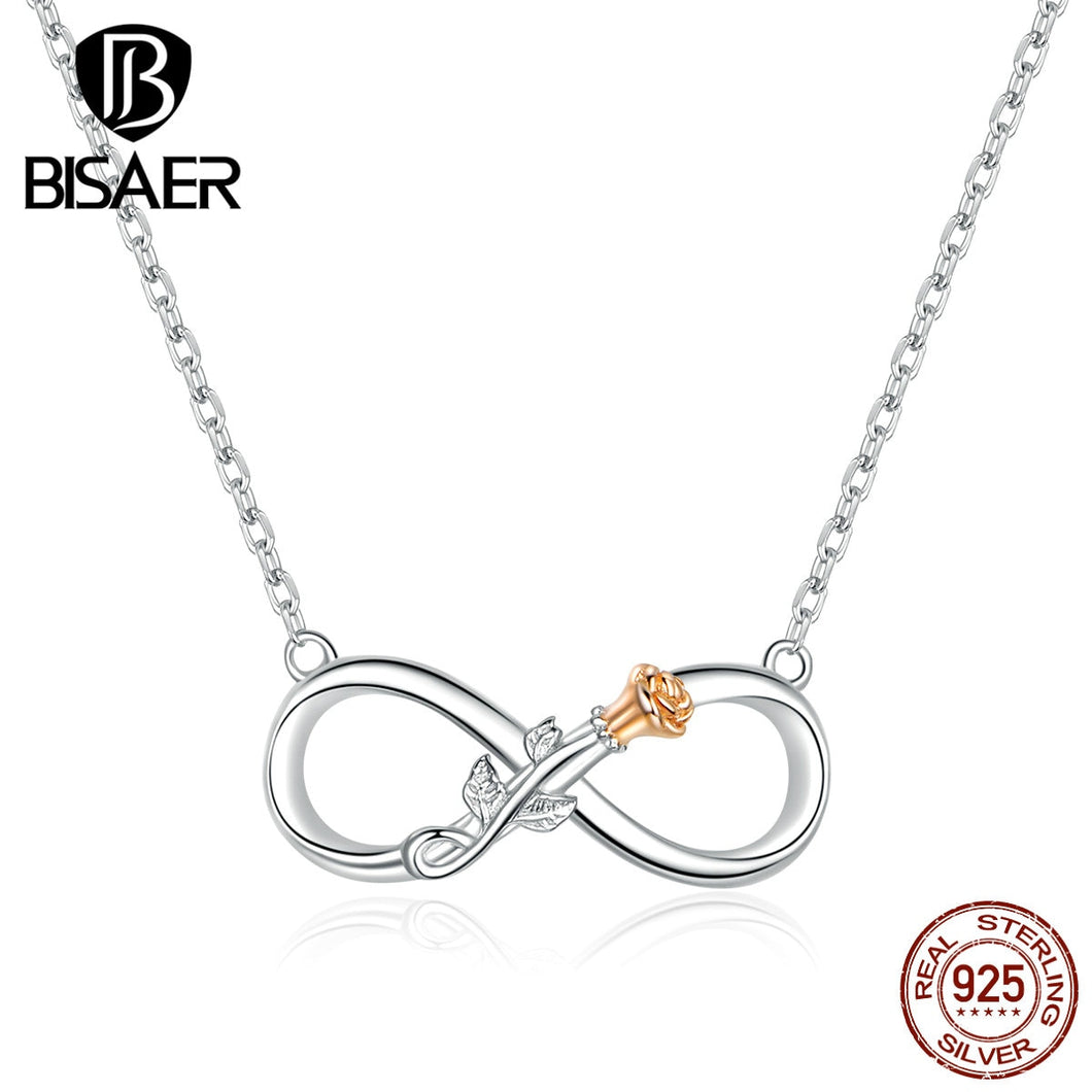 Infinity Collars BISAER Authentic 925 Sterling Silver Infinity Love Infinite Pendant Necklaces for Women Jewelry ECN371