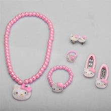 Load image into Gallery viewer, Children Hair Accessories Set Hello Kitty Jewelry 1set=7pcs Jewelry Accessories Necklace Bracelet Hairpin High Quality JQ01