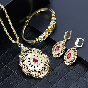 SUNSPICEMS Gold Color Arabic Necklace Earring Cuff Bracelet Women Ethnic Wedding Jewelry Sets Morocco Caftan Fashion Accessories