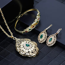 Load image into Gallery viewer, SUNSPICEMS Gold Color Arabic Necklace Earring Cuff Bracelet Women Ethnic Wedding Jewelry Sets Morocco Caftan Fashion Accessories
