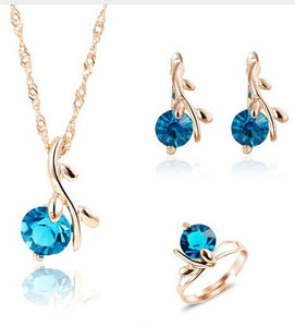 High Quality Elegant Gold Color Austrian Crystal Pendants Necklaces Earrings Bridal Jewelry Sets For Women