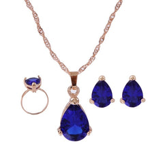Load image into Gallery viewer, High Quality Elegant Gold Color Austrian Crystal Pendants Necklaces Earrings Bridal Jewelry Sets For Women