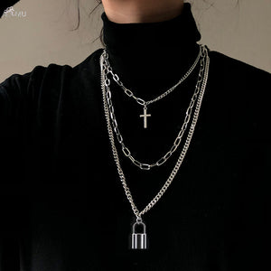 AOMU 2020 Fashion Multilayer Hip Hop Long Chain Necklace For Women Men Jewelry Gifts Key Cross Pendant Necklace Accessories