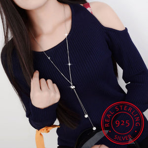 Simple Fashion 925 Sterling Silver Necklace Ball Beads Pearl Sweater Long Chain Necklaces For Women choker collares
