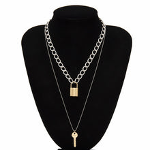 Load image into Gallery viewer, Ingemark Multi Layer Lover Lock Pendant Choker Necklace Steampunk Padlock Heart Chain Necklace Collier Best Couple Jewelry Gift