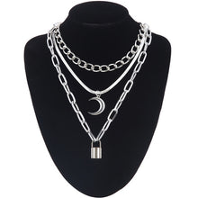 Load image into Gallery viewer, Layered punk chain necklace lock pendant necklace women men choker metal padlock chains goth jewelry grunge aesthetic accessory